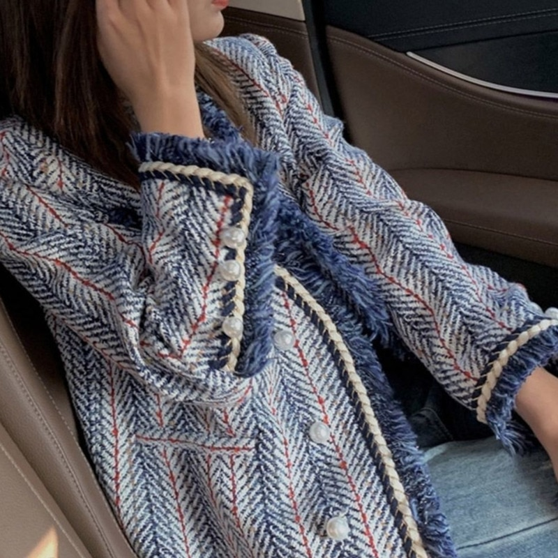 Ins 2021 Spring Stripe Plaid Suits Korean Female Coat Loose Retro HK Basic Jackets  Women Plus Size Outerwear Coats Za Shrug
