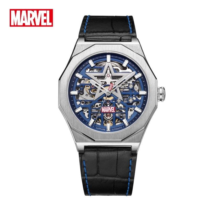 Relógio de Pulso Inoxidável os Vingadores Marvel Oficial Masculino Casual Esqueleto Automático Movimento Mecânico Cristal Safira Aço Dial