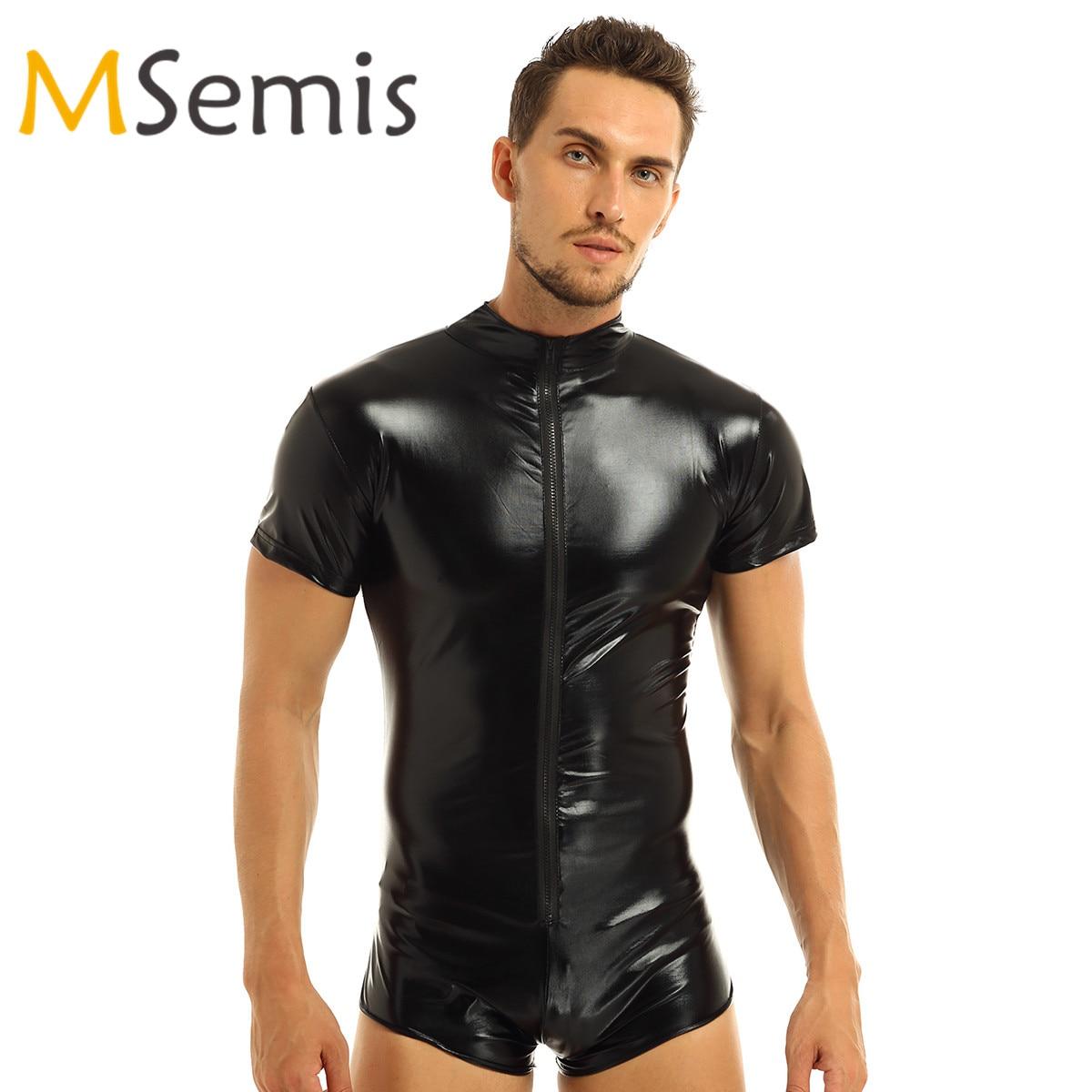 Collant lingerie, roupa de banho de couro para homens, macacão collant, brilhante, body, roupa de banho, ginástica, traje de natação
