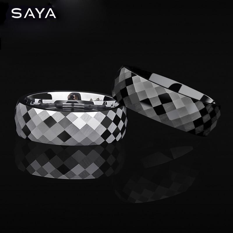 Anillo de boda para hombres y mujeres, anillo de compromiso de 7mm de tungsteno de múltiples caras, personalizado, envío gratis