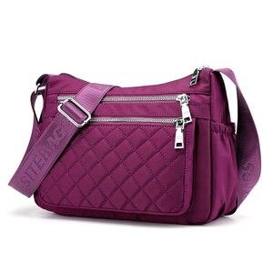 High quality Women's branded bags Multi Pockets Woman handbag Fashion Plaid shoulder bag Small Nylon crossbody bags for women