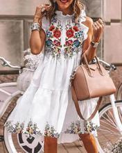 2020 휴가 꽃 프린트 드레스 여름 우아한 짧은 여성 드레스 버터 플라이 슬리브 캐주얼 프릴 넥 a 라인 드레스 여성