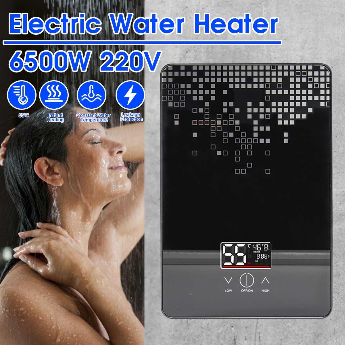 6500 واط الكهربائية سخان مياه ساخنة 220 فولت Tankless لحظة المرجل الحمام Tankless دش مجموعة ترموستات آمنة ذكي autoatica