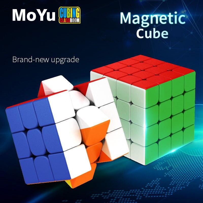 Cubos magnéticos MoYu RS3M 2020 RS4M, cubos mágicos, clase de corte 3x3x3 imanes, cubos de rompecabezas de velocidad 4x4x4 RS4 M