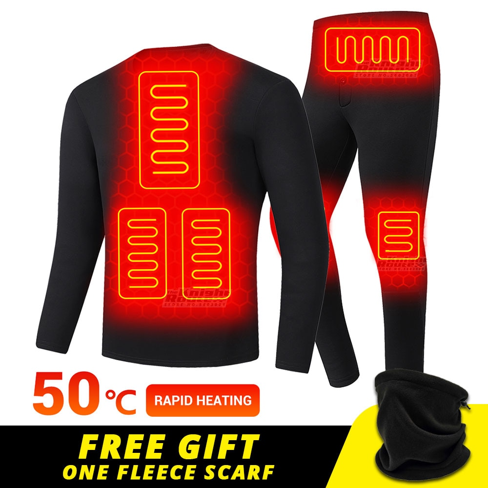 Winter Heated Underwear USB Battery Powered Fleece Thermal Heating Motorcycle Jacket Moto Long Johns