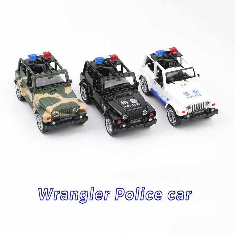 Colección exquisita de juguetes de alta simulación para bebés Coche de estilo CaiPo Jeep Wrangler policía CCar 132 aleación coche modelo todoterreno mejores regalos