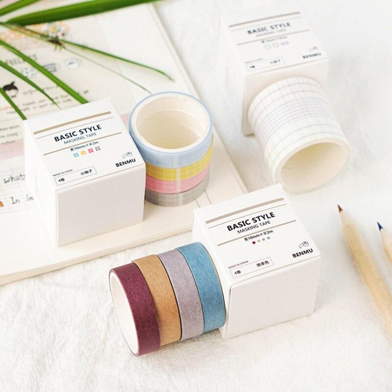 4 adet/takım sevimli düz renk Washi bant seti etiket maskeleme bandı Kawaii dekoratif yapışkan bant ızgara Washi bant Scrapbooking
