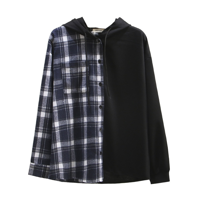 Blusas a cuadros con capucha mujer primavera Otoño de talla grande Casual moda suelta manga larga algodón empalme camisas F52-c6115