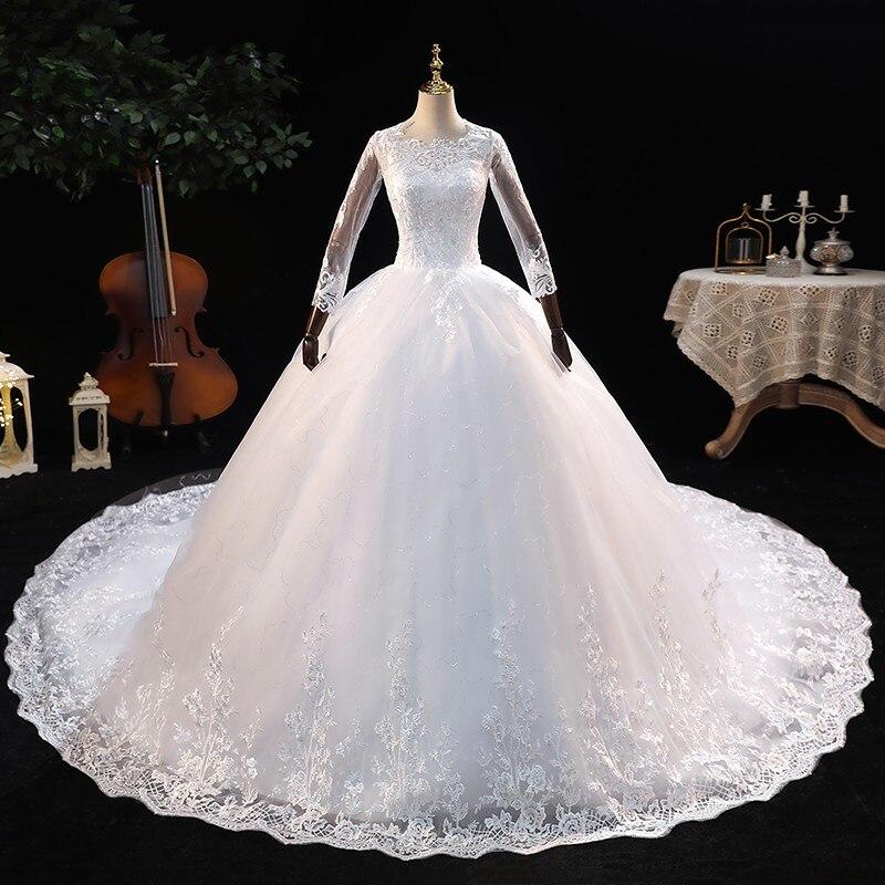 فستان زفاف رداء دي ماري 2021 جديد أنيق ثلاثة أرباع كم الكرة ثوب الأميرة الفاخرة الدانتيل Vestido De Noiva تخصيص