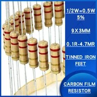 100pcs 12w 5 carbon film resistor 0 1r 4 7mr ohm resistance watts0 5 precision5 various specifications are available resistenc