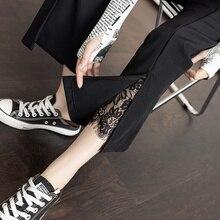 Slit Lace Bell-Bottom Pants Female 2021 Autumn New