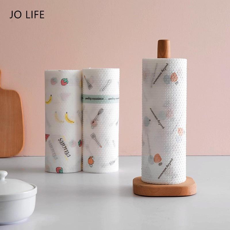 Paños de limpieza JO LIFE, tela no tejida, trapos perezosos, Impresión de dibujos animados, paño de toalla de papel desechable para Cocina