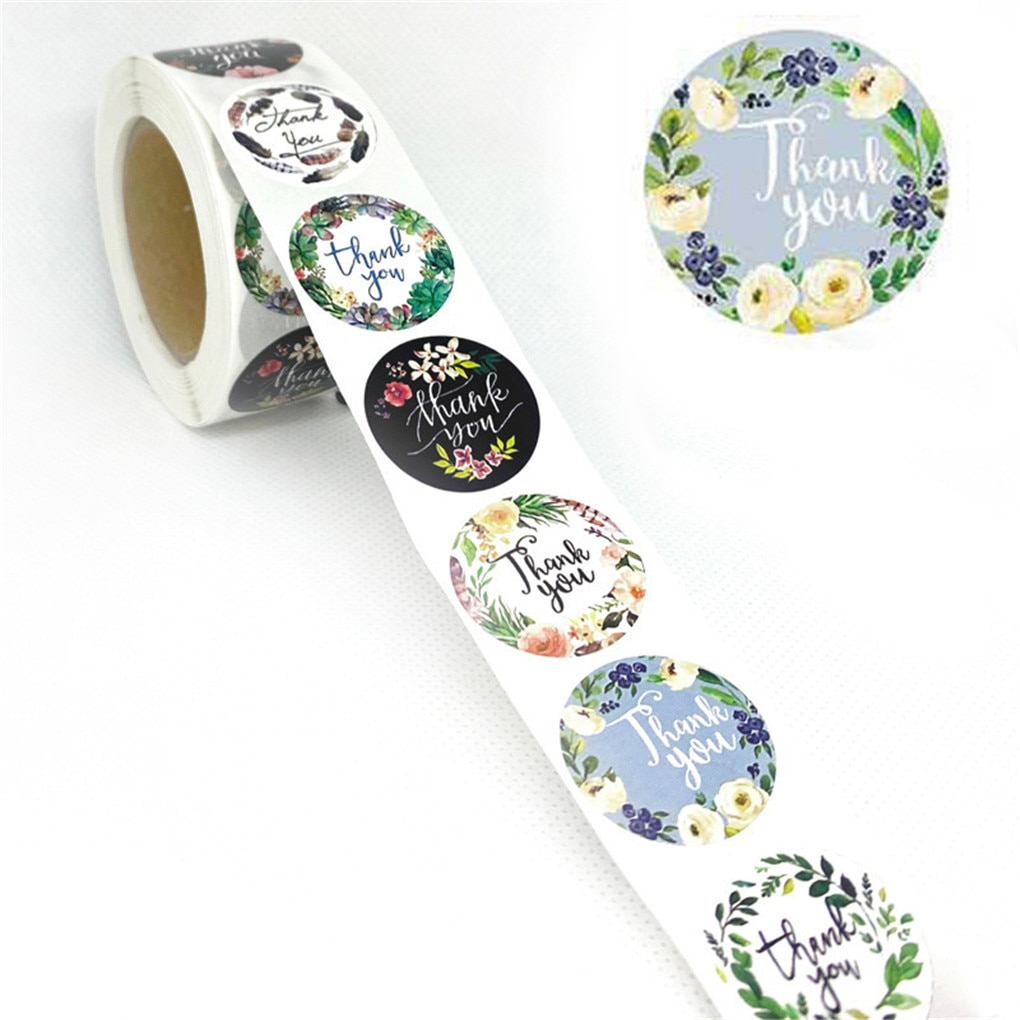 500Pcs/Roll Thank You Flower Stickers Self Adhesive Handmade Labels Wedding Favors Gift Party Decoration