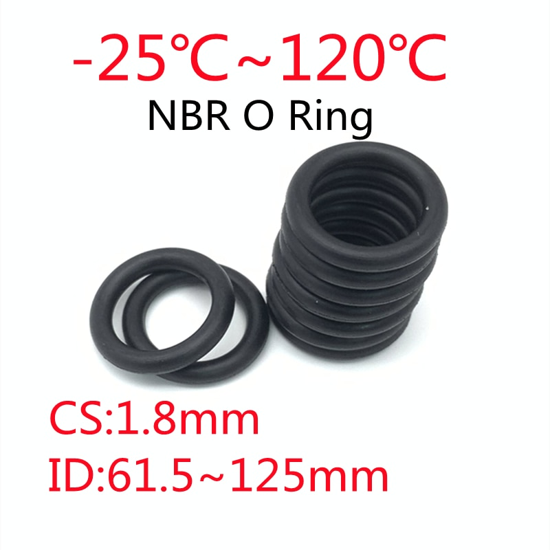 50pcs Black O Ring Gasket CS 1.8mm ID61mm ~ 125mm NBR Automobile Nitrile Rubber Round O Type Corrosion Oil Resistant Seal Washer