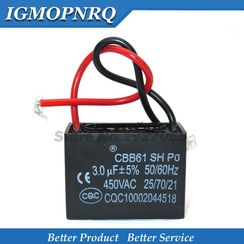 5 шт. Бесплатная доставка CBB61 3 мкФ начиная с постоянной ёмкости, универсальный конденсатор переменного тока конденсатор вентилятора 3 мкФ 450V CBB конденсатор моторного двигателя новый