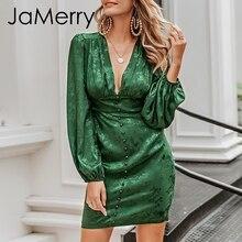 JaMerry Vintage sexy robe de soirée courte lanterne simple boutonnage a-ligne mini robe ruban vert highstreet robes élégantes