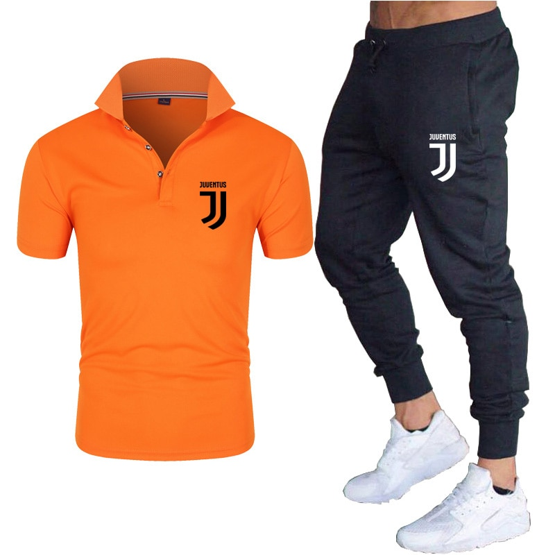 New men's thin short sleeve casual fashion pants are suitable for cotton polo 2021 new Polo suit