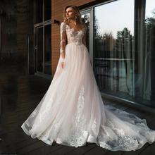 Elegant Lace Wedding Dress Appliqued Vestido De Noiva 2020 Open Back Long Sleeve A Line Court Train Bridal Dresses V-Neck