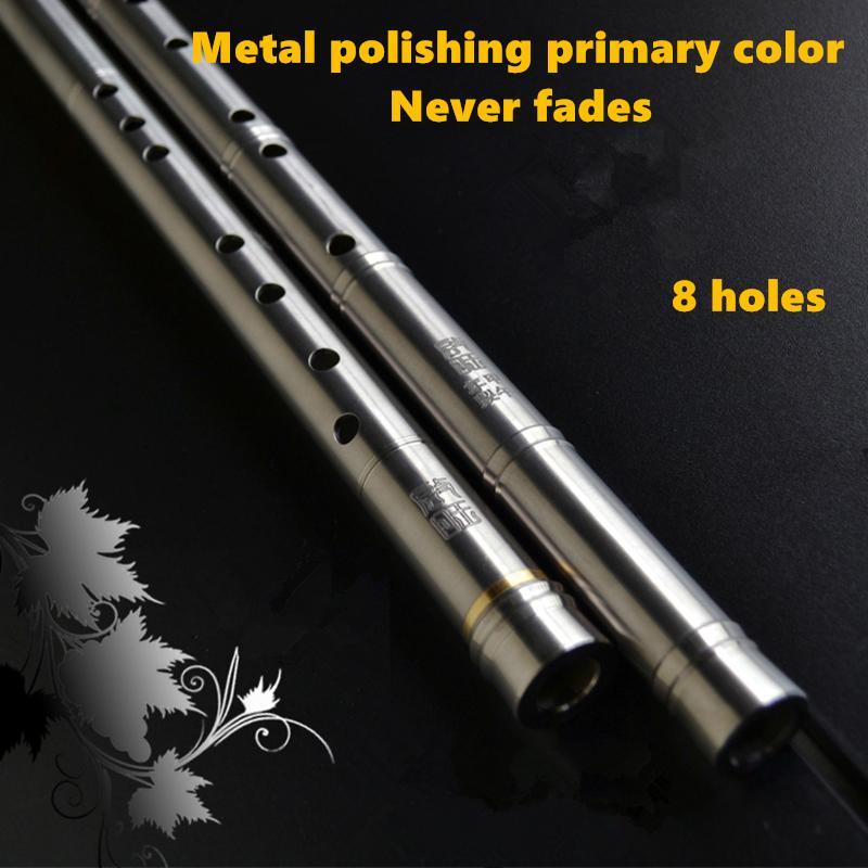 Chinese Titanium Metal Flute Xiao 80cm G F Key  Professional Metal Flauta Xiao Folk Music instrument Self-defense Weapon enlarge