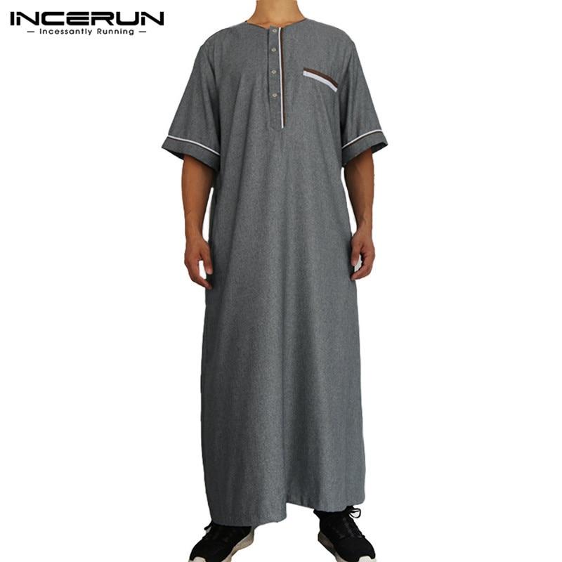 INCERUN 2020 moda hombres Jubba Thobe de manga corta de retazos suelto cuello redondo Arabia Saudita mantos de Abaya hombres islámico musulmán Kaftan 5XL