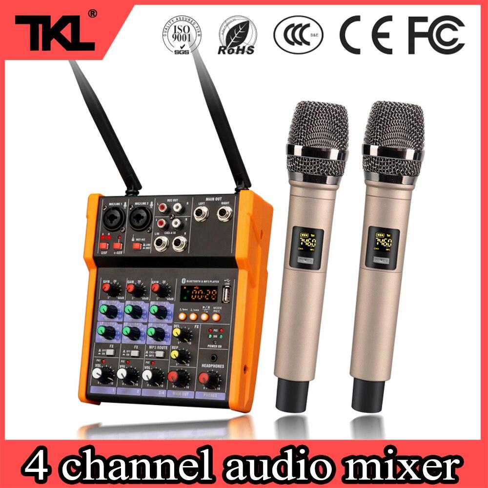 TKL bluetooth audio mixer 4 channel With UHF wireless microphone MP3 USB input 48V phantom power digital audio sound mixer