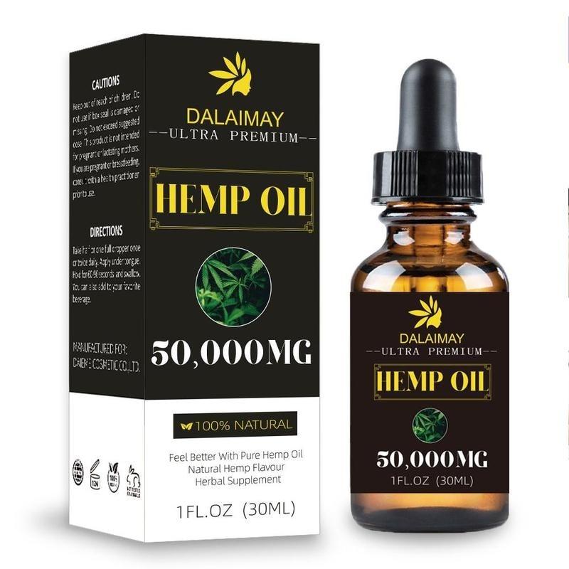 50000MG Hemp Oil 30ML CBD Oil Organic Pure Essential Oil Herbal Drops Body Relieve Stress Oil Skin Care Help Sleep