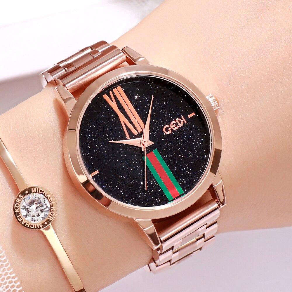 GEDI Luxury Woman Watch Stainless Steel Analog Women's Quartz Wristwatch Fashion Casual Dress Lady W