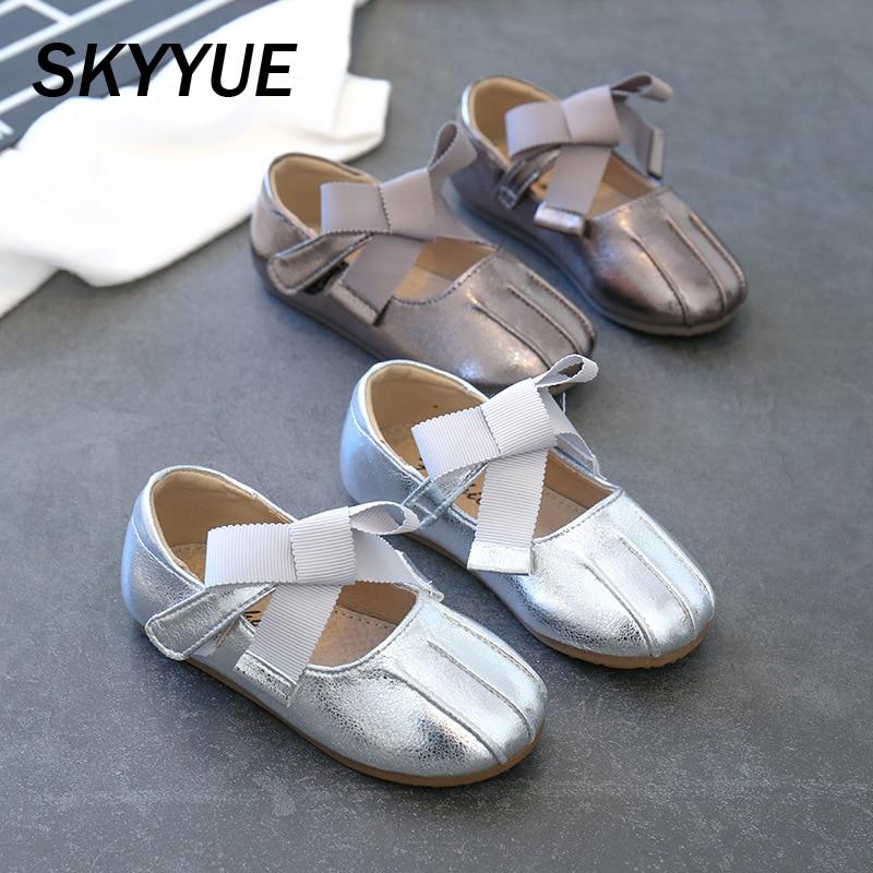 2020 primavera niño arco princesa Zapatos Bebé niñas Zapatos de vestir de cuero Pu zapatos de marca de los niños dulce Rosa zapatos de moda