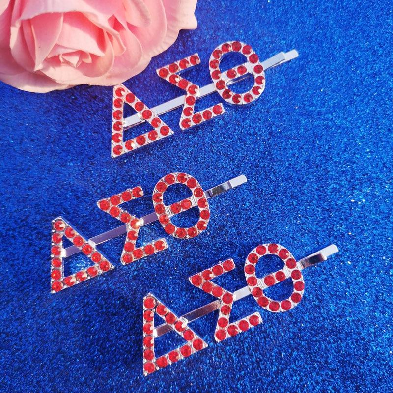 Novedad De 2020 Pinzas Para El Pelo Con Letras Griegas Zeta Phi Beta Pines De Cristal Rojos Joyería Para El Cabello Aliexpress