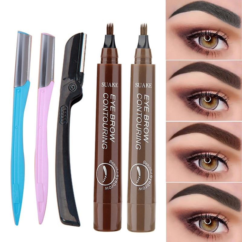 Natural Eyebrow Pencil Waterproof 4 Fork Tip Eyebrow Tattoo Pencil Long Lasting Eye Brow Tint Pen with Trimmer Eye Makeup Tools недорого