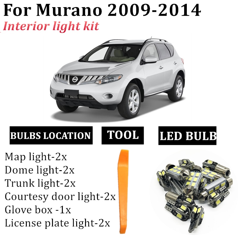 20pcs white premium led interior map dome reading light kit license plate light for volvo xc60 2009 20xx with install tools 14x Canbus LED Light Bulbs Interior Kit For 2009-2014 Nissan Murano Car accessories Map Dome Trunk License Plate light Lamp