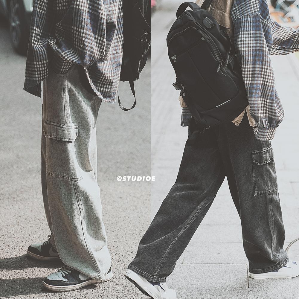 Брюки-карго Мужские Винтажные, джинсы с большими карманами, свободные штаны в стиле ретро, уличная одежда, повседневная молодежная одежда в ...
