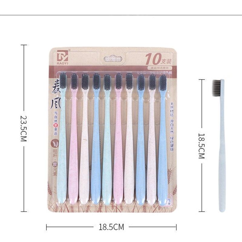10 unids/lote Eco Friendly paja de trigo cepillo de dientes limpieza suave Slim Tip Binchotan cerda de carbón cepillo para cepillo de dientes