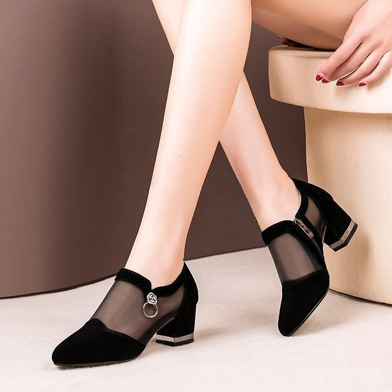 MCCKLE Women High Heel Shoes Mesh Breathable Pumps Zip Pointed Toe Thick Heels Fashion Female Dress Elegant Footwear New