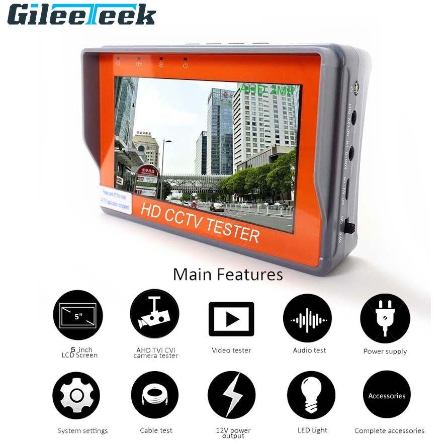 5/4.3 Inch 5/8MP CCTV Camera Tester AHD Tester Monitor TVI CVI CVBS Tester Monitor HD Display Portable Video Tester with LED
