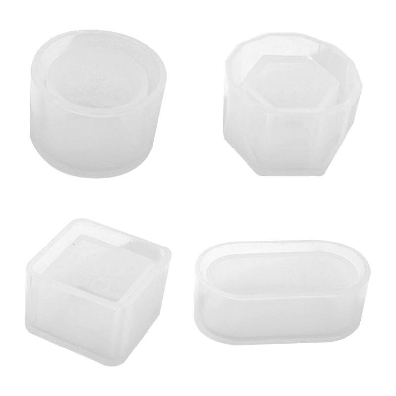 4 unids/set resina UV DIY maceta hecha a mano molde de silicona caja de almacenamiento hexágono moldes de silicona