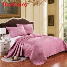 Couvre-lit soyeux couleur Pure   Drap de lit en coton à Clip, housse de literie Double printemps et automne, ensemble de literie 3 pièces