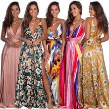 2020 printemps robe florale Sexy Maxi robe longue plissée robes dos nu robe femme col en V longue robe de soirée