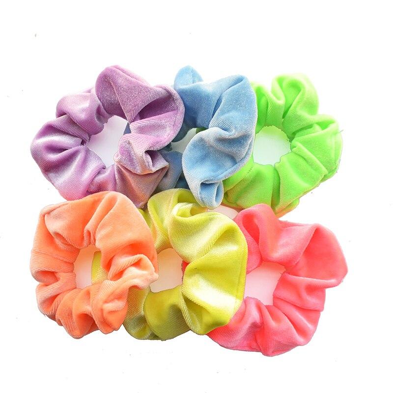 6 farben Neon Scrunchie für Mädchen Haar Gum Zubehör Kinder Elastische Hair Bands Headwear Frauen Samt Scrunchies 2019 VERVAE