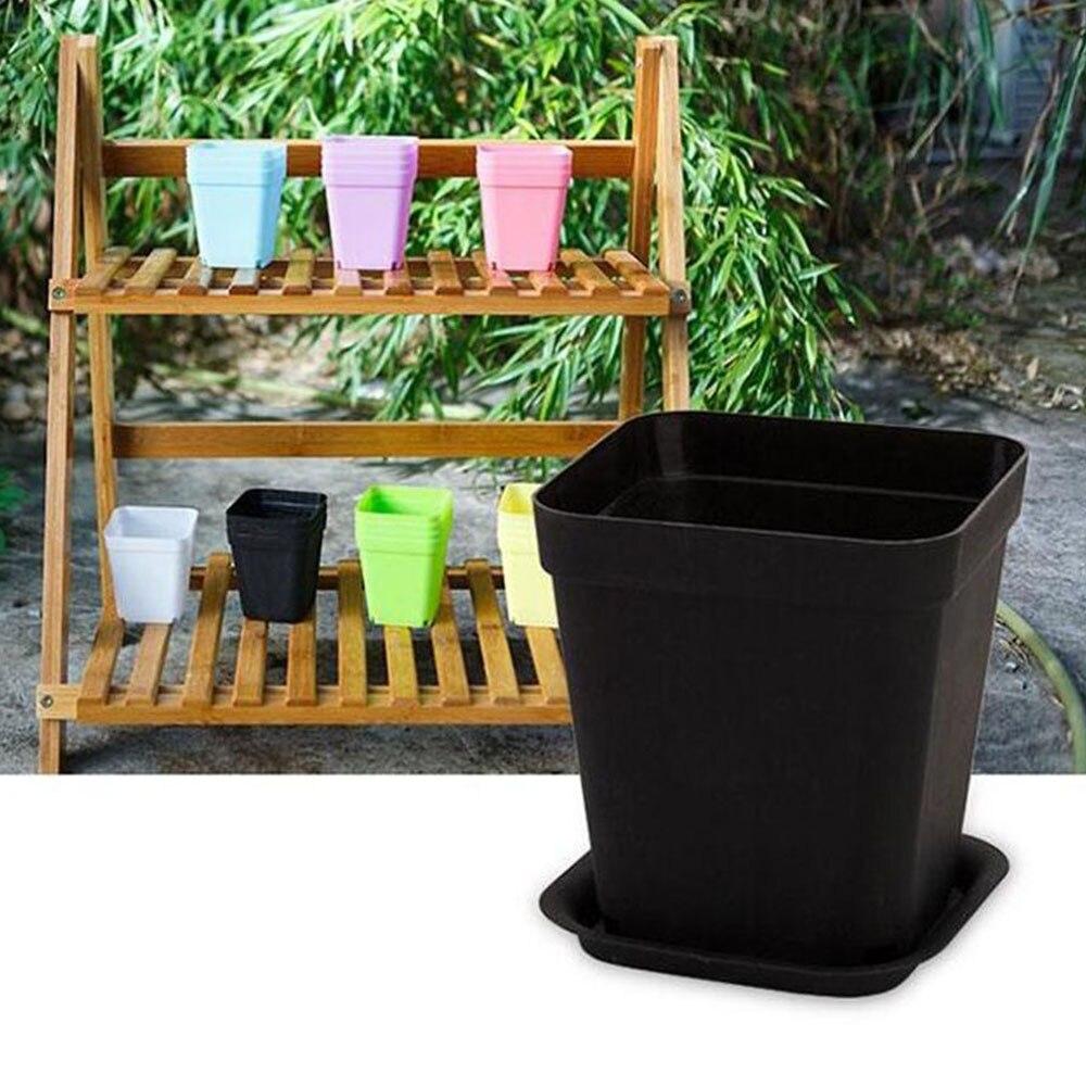 Maceta de 10 Uds. Con soporte inferior, maceta cuadrada de plástico, maceta para vivero, decoración para dulces de Color para el hogar