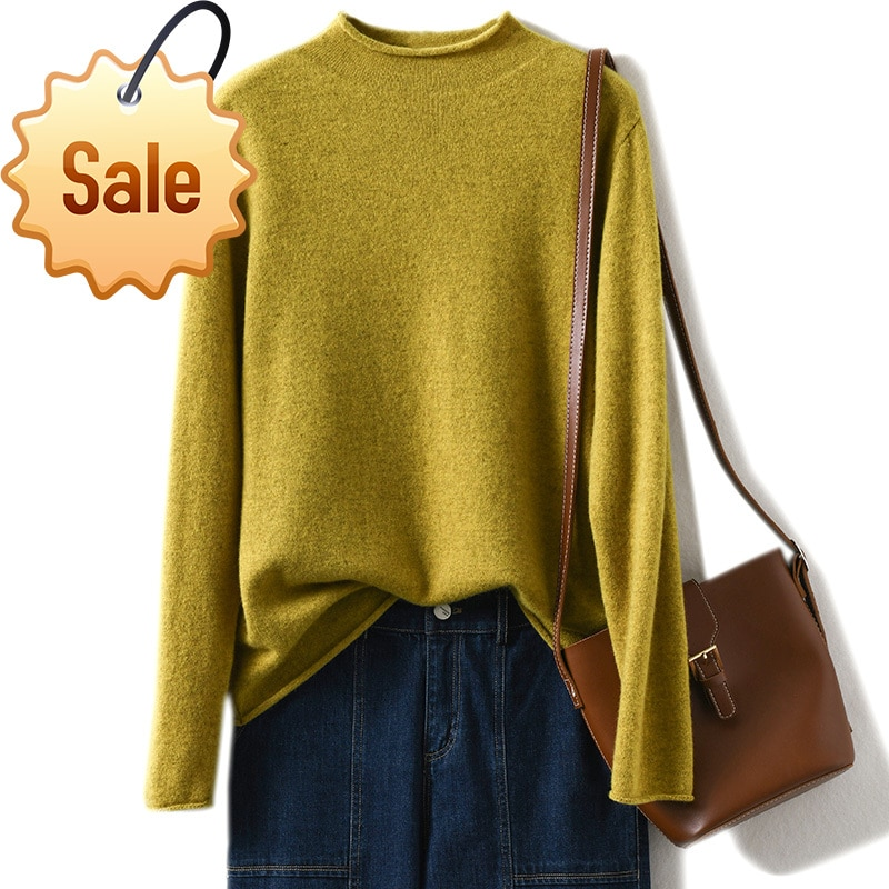 Autumn Winter New Crimped Cashmere Sweater Women Keep Warm Half Turtleneck Pullovers Knitting Sweater Fashion Long Sleeve Tops