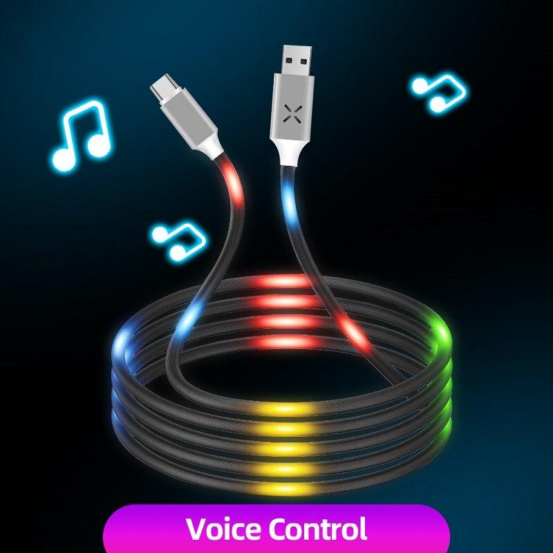 Clydek luminosa Control de voz Cable tipo USB C Micro USB Cable...