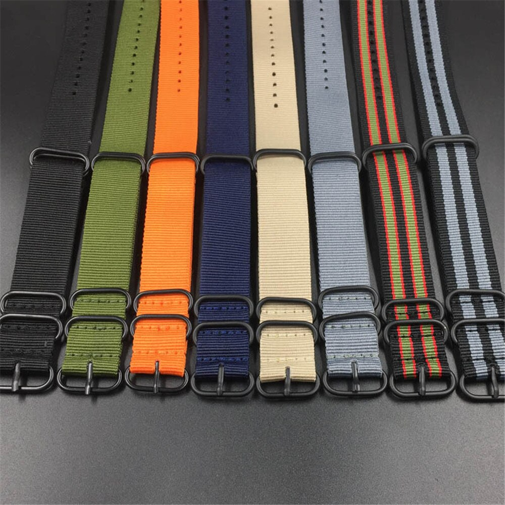 18 20mm 22mm 24mm resistente náilon pulseira nato zulu banda cinta de alta qualidade anel fivela universal esporte pulseira acessórios