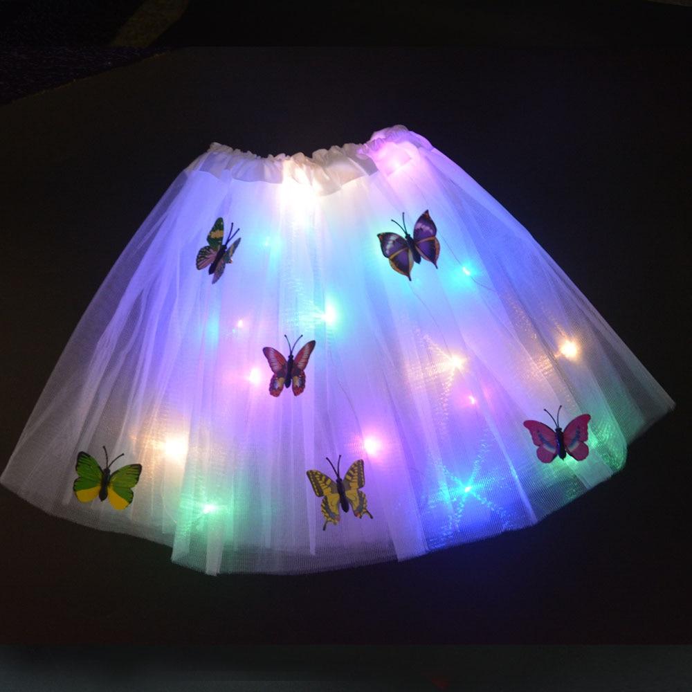 LED Skirt Glow Butterfly Light Tutu Flower Luminous Party Wedding Birthday Home Decoration Easter Gi