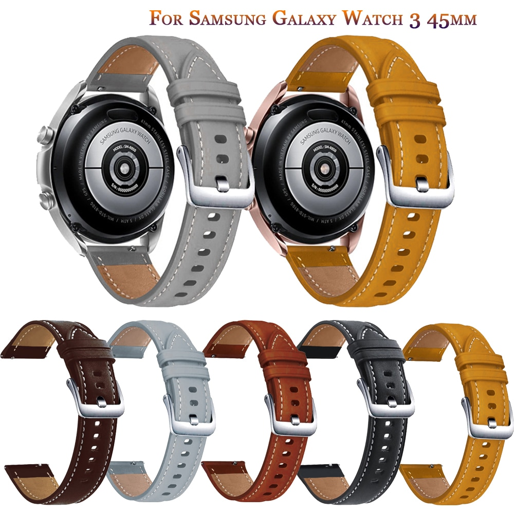 Фото - New Genuine Leather Watch Bands For Samsung Galaxy Watch3 45mm Replacement band For Galaxy Watch 46mm Wrist strap accessories ремешок samsung stitch leather band для galaxy watch3 45мм watch 46мм коричневый