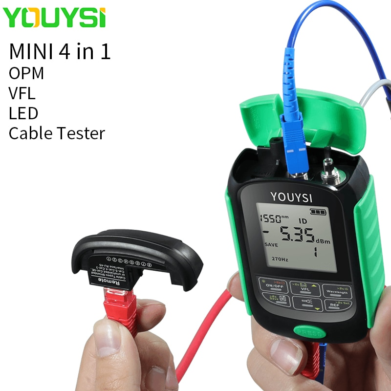 YOUYSI 4in1 Li-Lion Battery Optical Power Meter Visual Fault Locator Network Cable Test Optical Fiber Tester LED VFL