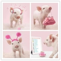 full squareround drill 5d diy diamond painting animal pig 3d embroidery cross stitch 5d home decor gift