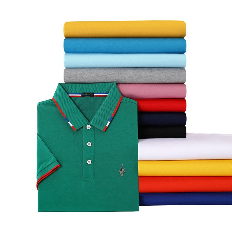 Man Polo Shirt Mens Casual Embroidery Silk Cotton T shirt Men Short Sleeve High Quality Polo Men Tops Sports Lapel T-shirt polo t shirt ringspun polo t shirt