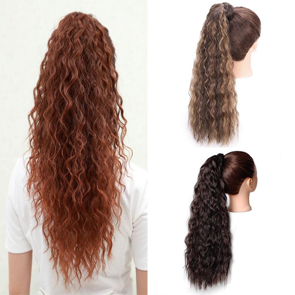 Энергичная кукурузная волна воды Sythetic Длинный Конский хвост 12 одежда наращивание волос