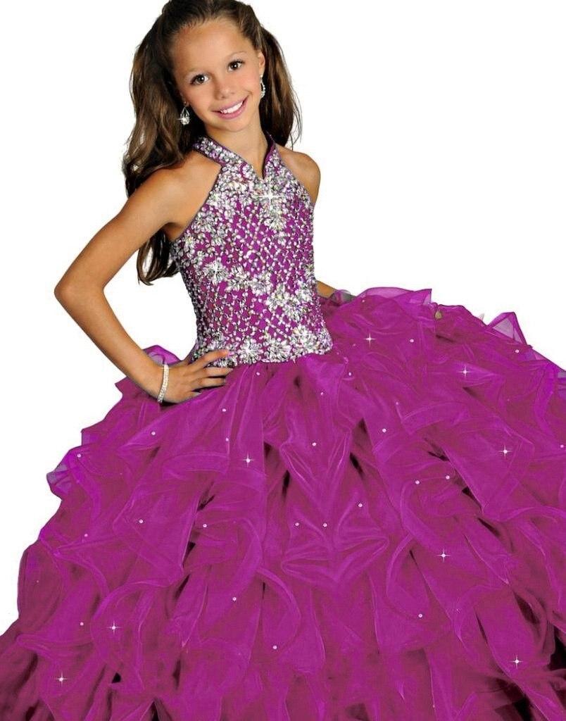 Azul niña vestido brillo Halter con reborde con gradas largo niños Noche Vestidos Organza turquesa vestidos de niña de las flores
